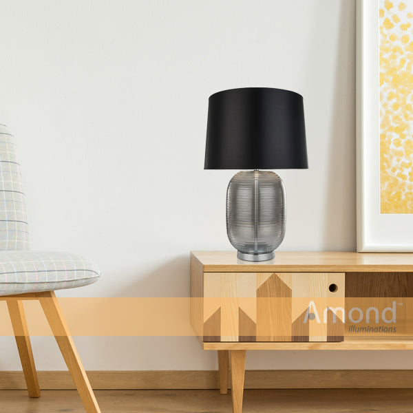Lani Rippled Smoke Glass Table Lamp by Amond