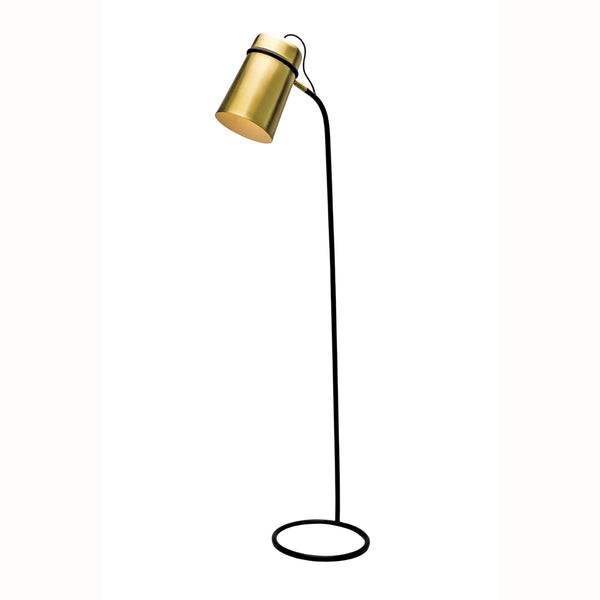 Leon Brass and Black Loop Frame Base Floor Lamp