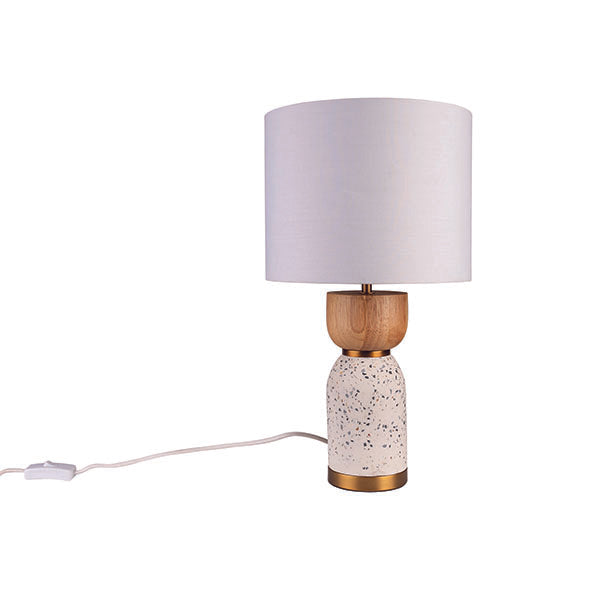 Lottie White Terrazzo and Natural Timber Modern Table Lamp