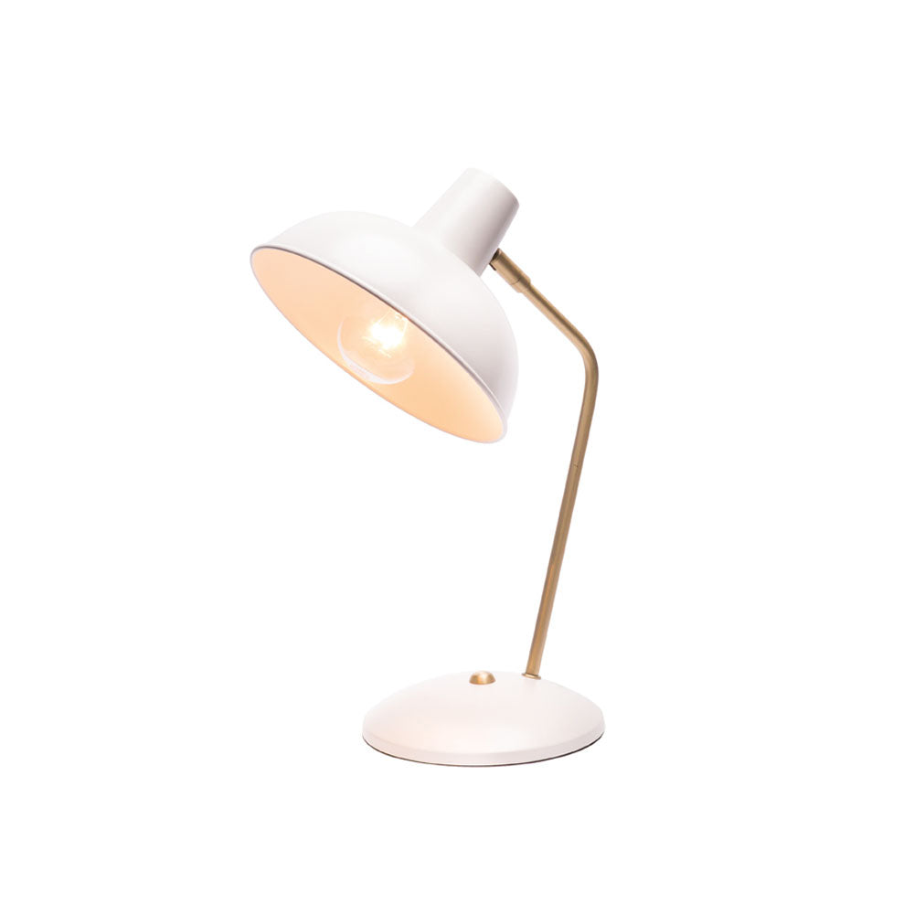 Lucy White and Brushed Brass Desk Lamp