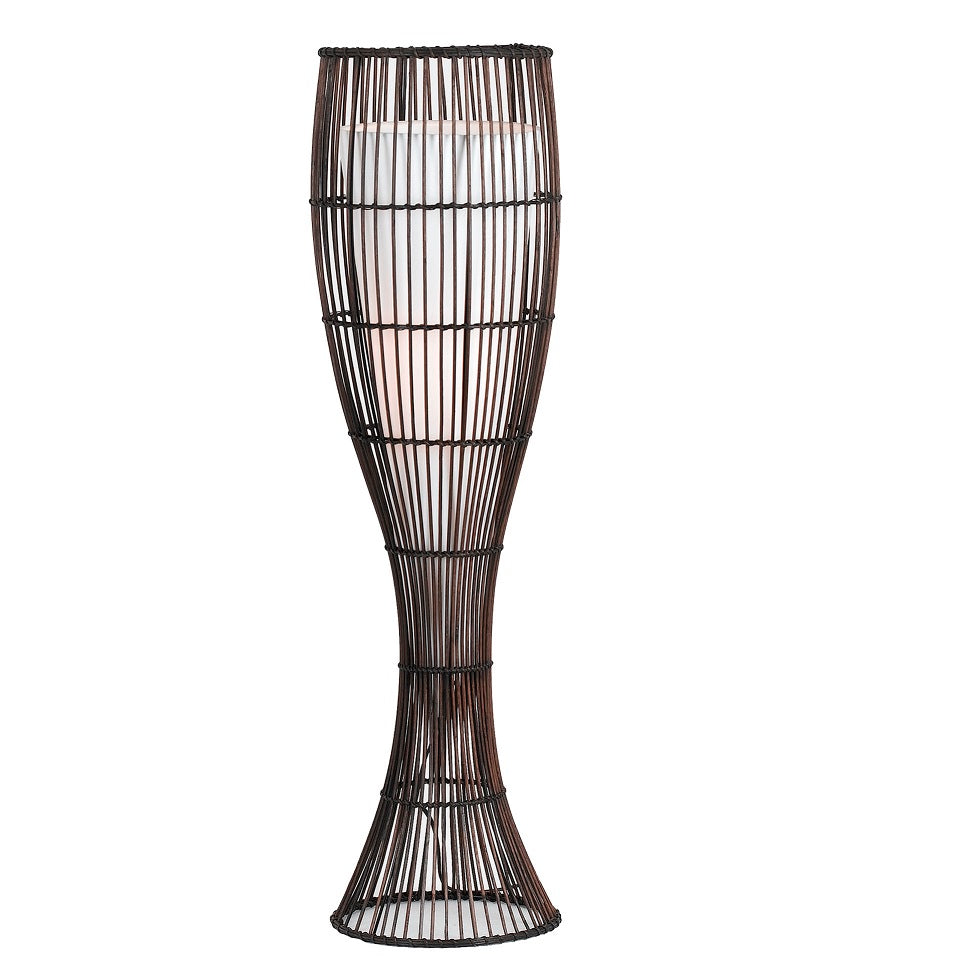 Maluka Large Rattan with Fabric Shade Floor Lamp