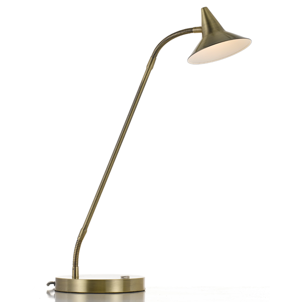 Marit Antique Brass Three Stage Touch Desk Lamp