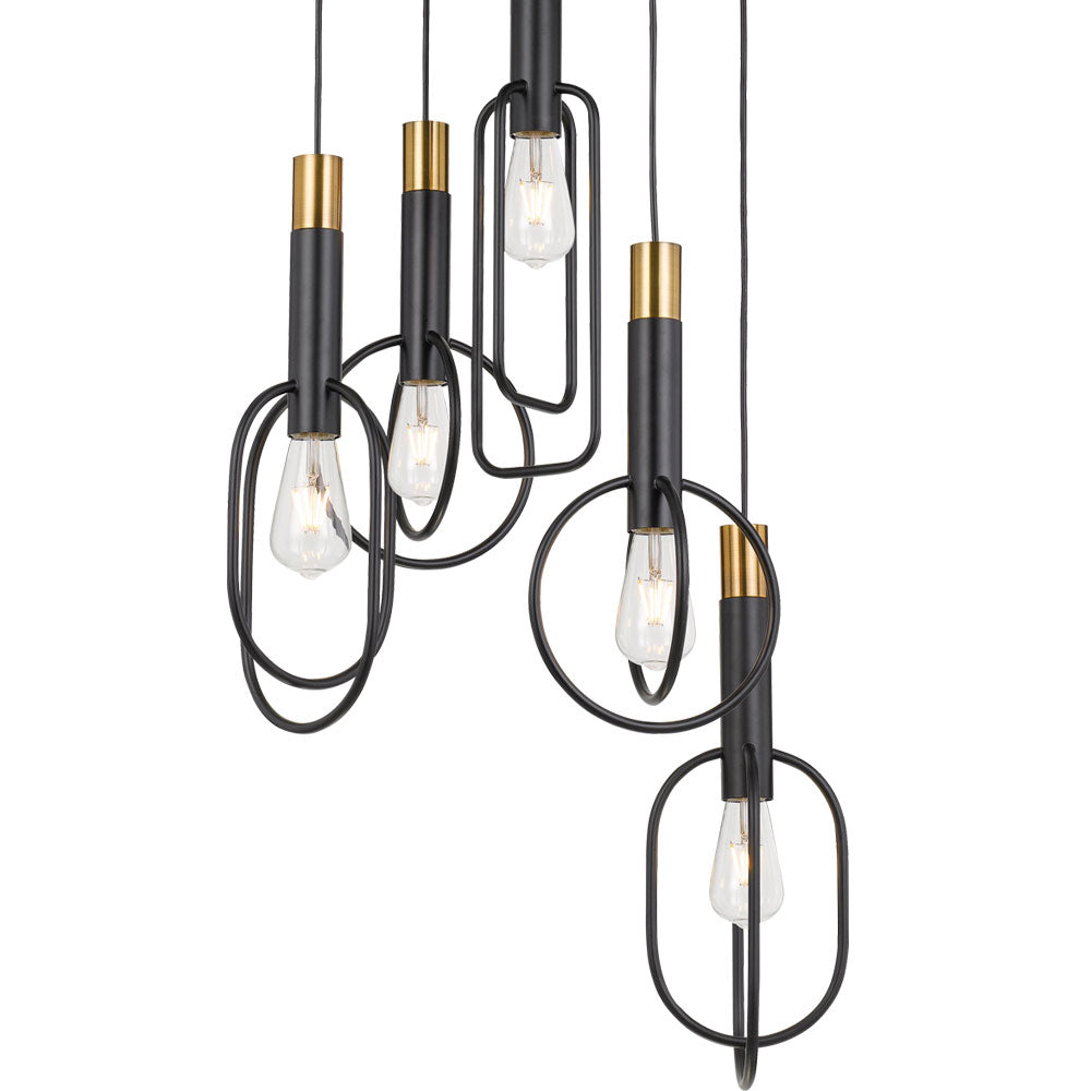 Marvin 5 Light Oval/Rectangular Overlap Frame Pendant