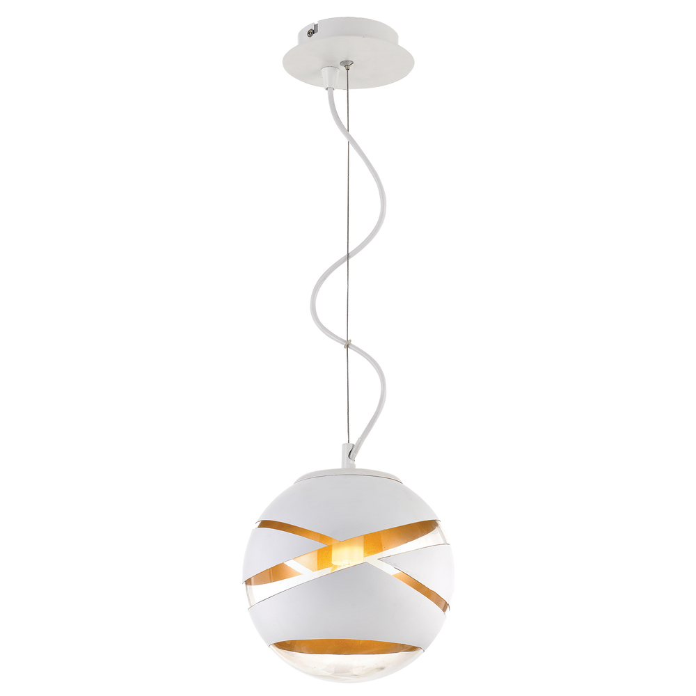 Matrix 20cm White and Gold Cross-printed Sphere Pendant
