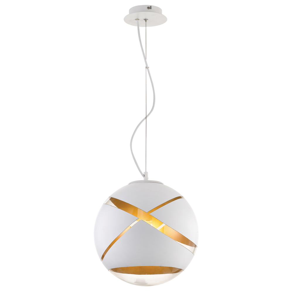 Matrix 30cm White and Gold Cross-printed Sphere Pendant