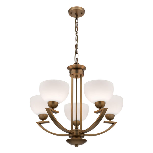 Hepburn 5 Light Aged Brass Pendant