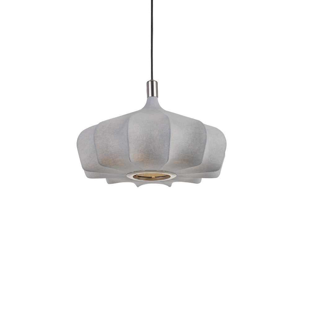 Mersh 40cm Grey Fabric Spread Bulb Pendant