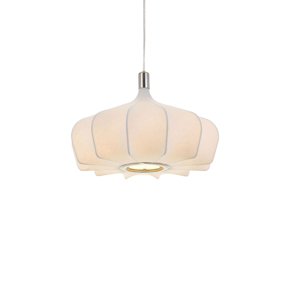 Mersh 40cm White Fabric Spread Bulb Pendant