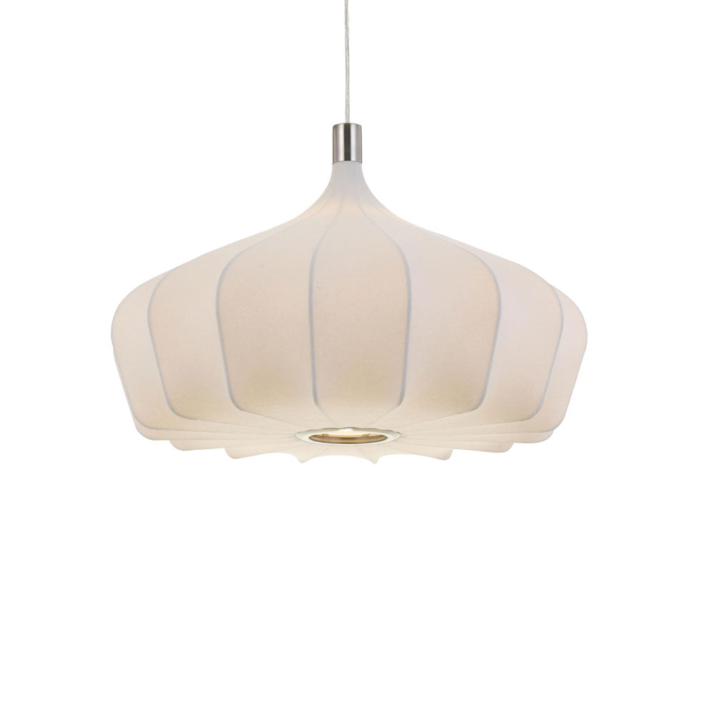 Mersh 60cm White Fabric Spread Bulb Pendant