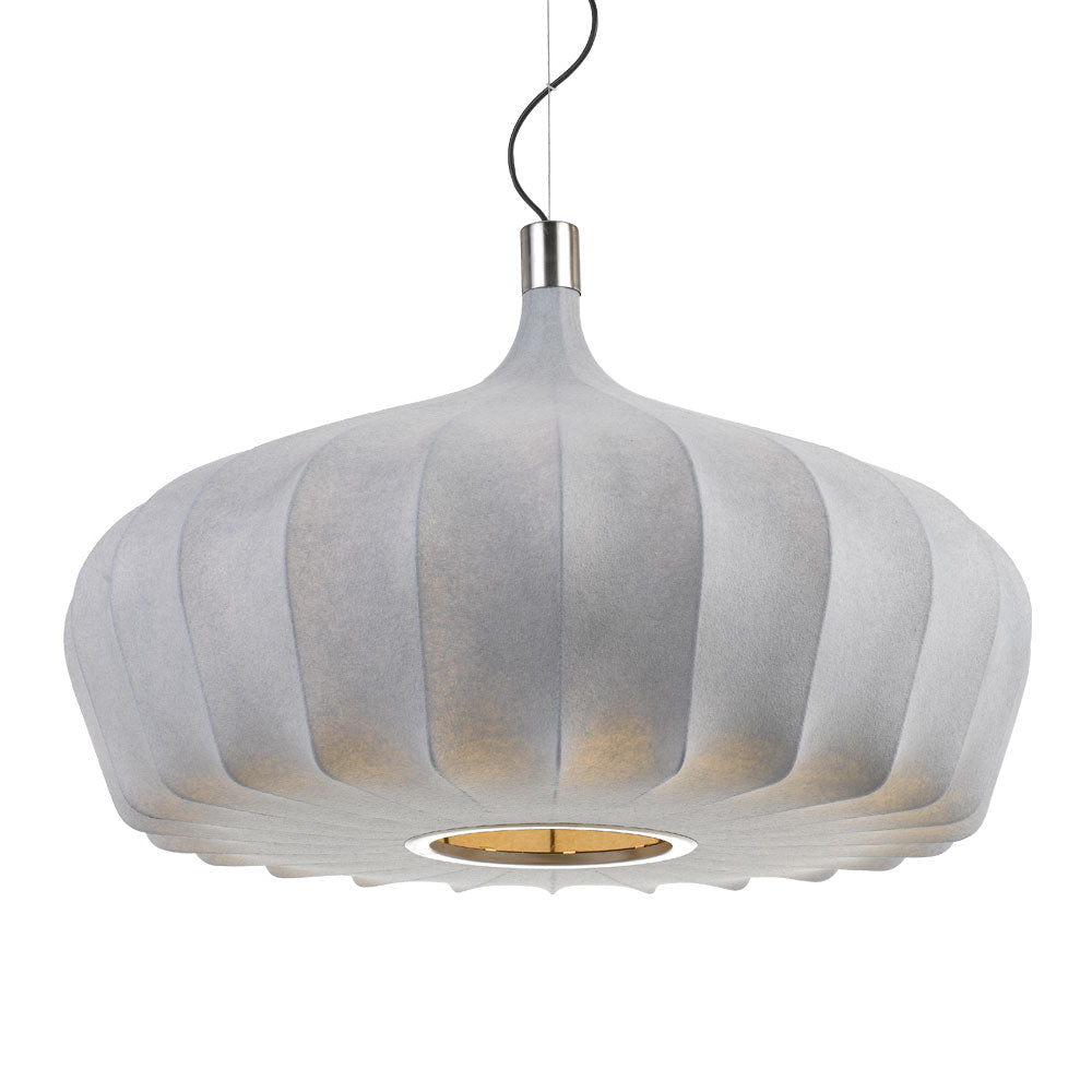 Mersh 80cm Grey Fabric Spread Bulb Pendant