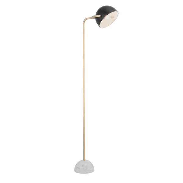 Ainsley Black with Gold and Marble Modern Floor Lamp