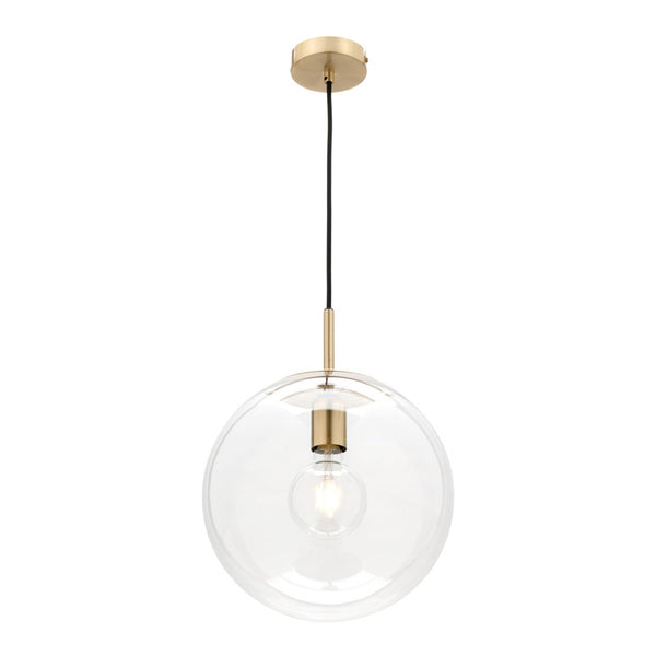 Madrid Medium Brass and Glass Sphere Pendant