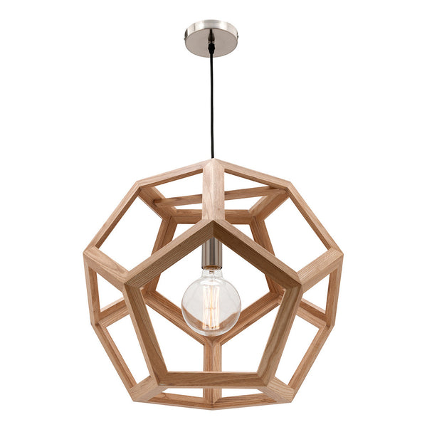Peeta Natural Timber and Brushed Chrome Large Geometric Pendant