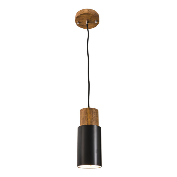 Lois Matt Black Metal and Timber Cylindrical Pendant
