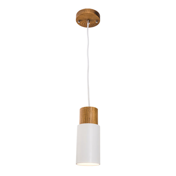 Lois Matt White Metal and Timber Cylindrical Pendant