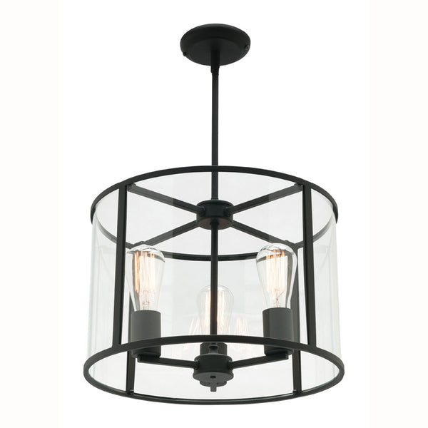 Liverpool 3 Light Matt Black and Glass Drum Pendant