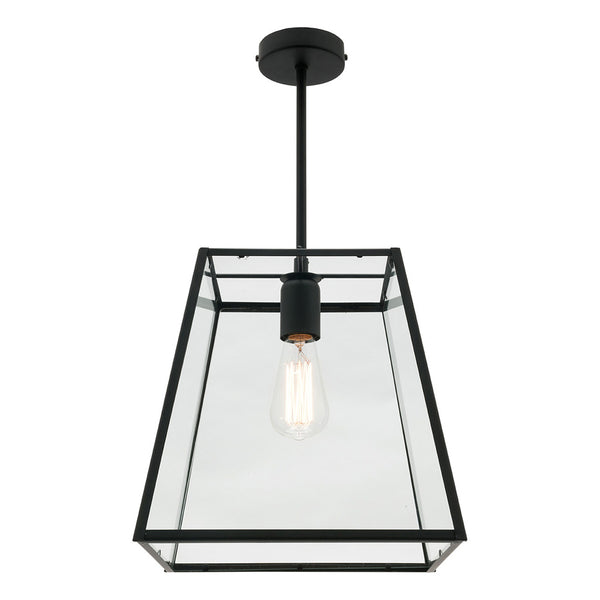 Manchester 1 Light Large Glass and Tapered Box Frame Pendant