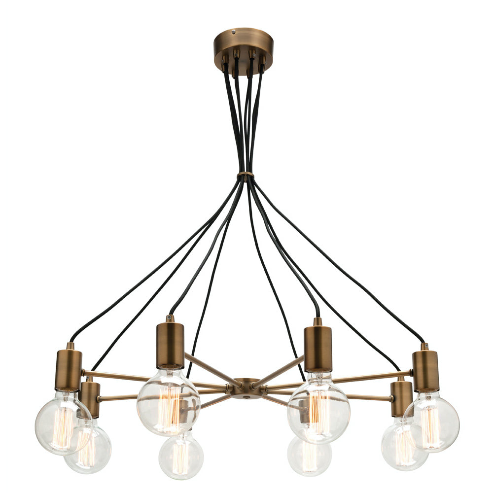 Colorado Aged Brass and Black Cable 8 Light Pendant