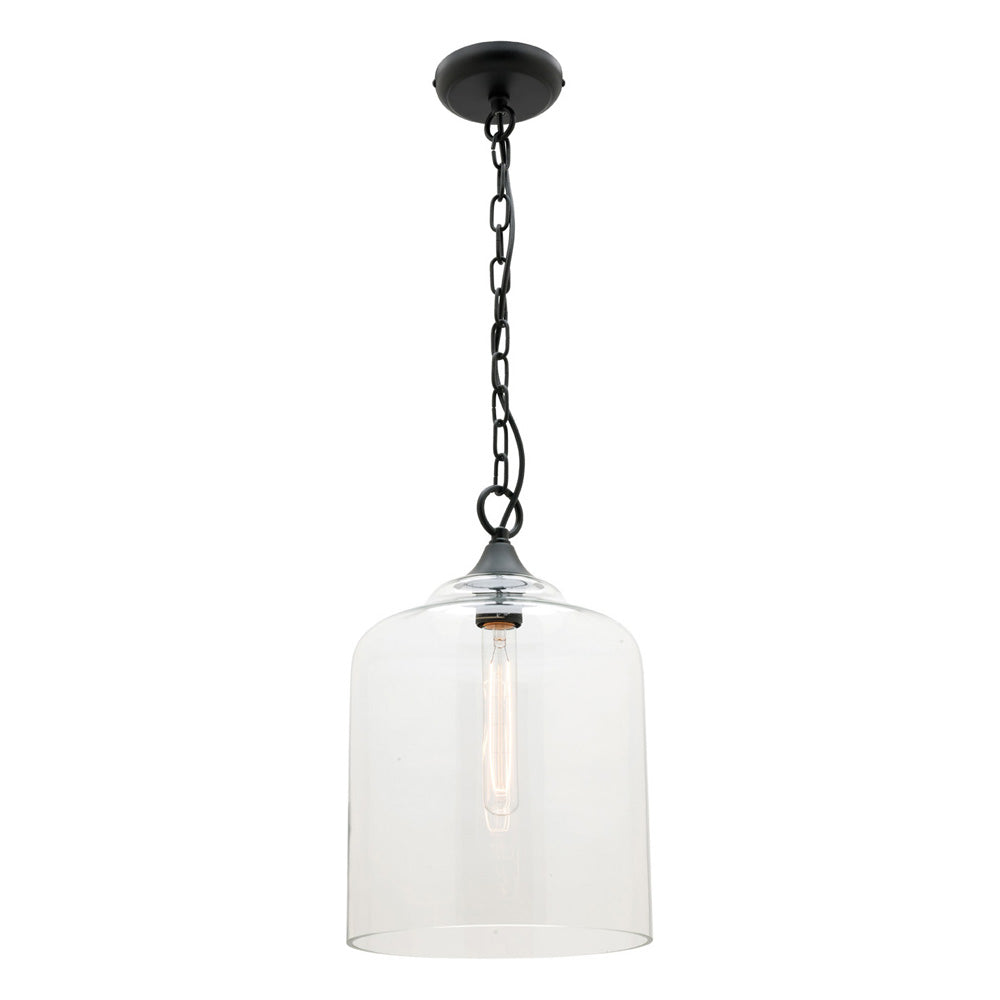 Hampton 1 Light Small Glass with Matt Black Metalware Pendant