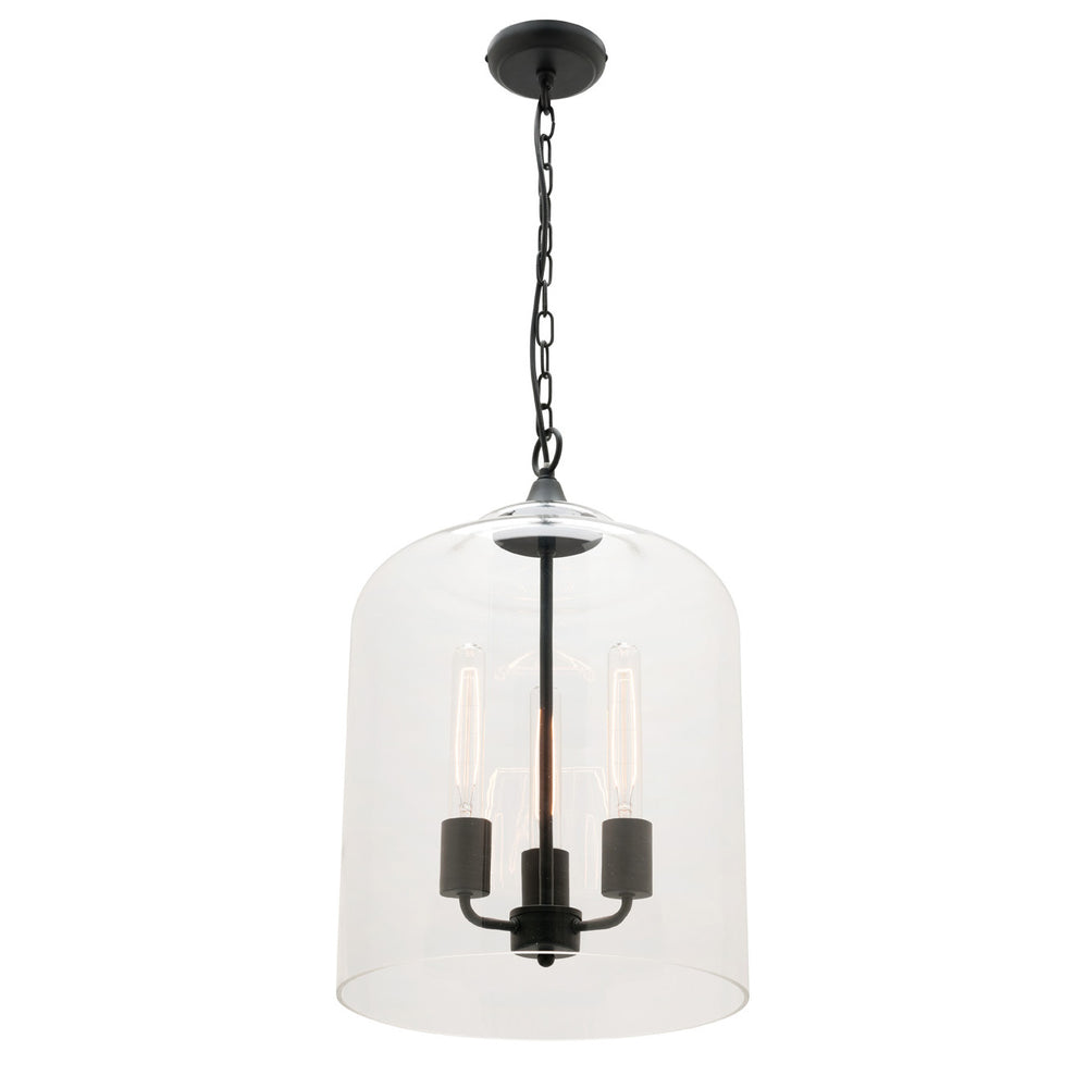 Hampton 3 Light Large Glass with Matt Black Metalware Pendant