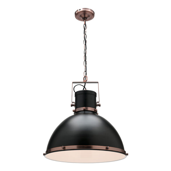 Tonic Matt Black and Antique Copper Large Industrial Pendant