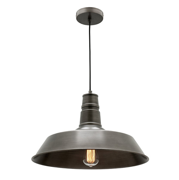 Corby Large Hand-painted Grey Industrial Shade Pendant
