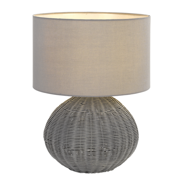 Mohan Grey Rattan Woven Ball Table Lamp