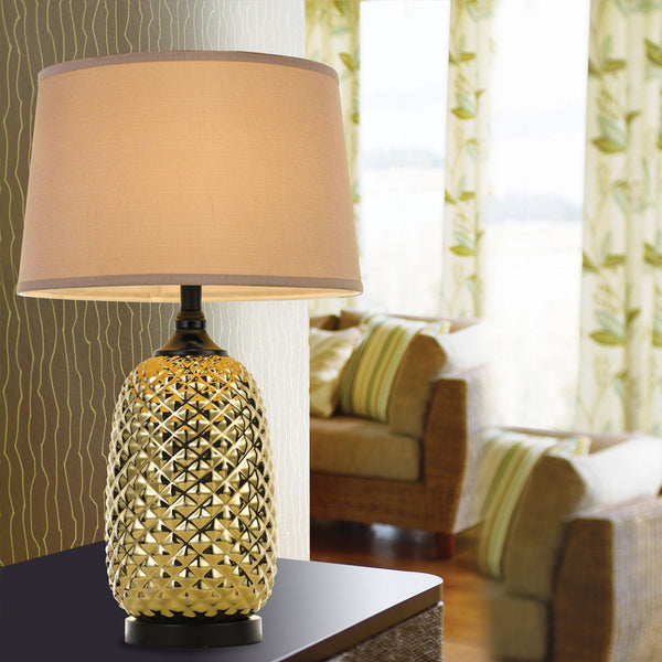 Morton Gold and Black Raised Cross-hatch Table Lamp
