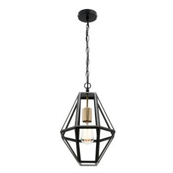 Prisma 1 Light Black and Brass Industrial Frame Pendant