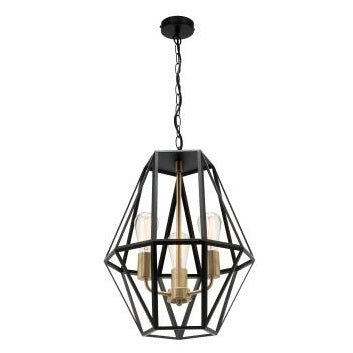 Prisma 3 Light Black and Brass Industrial Frame Pendant