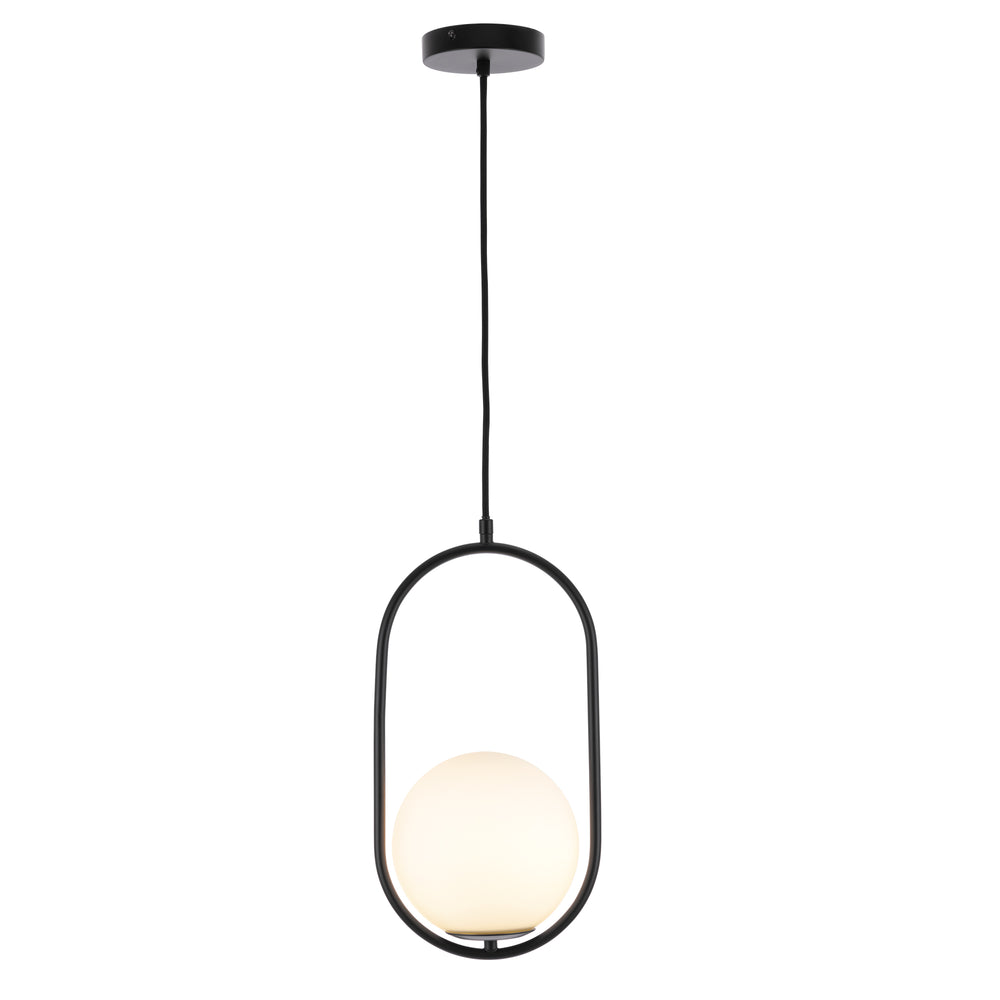 Ava Black and Opal Glass Modern Pendant