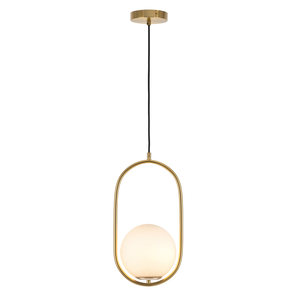 Ava Brass and Opal Glass Modern Pendant