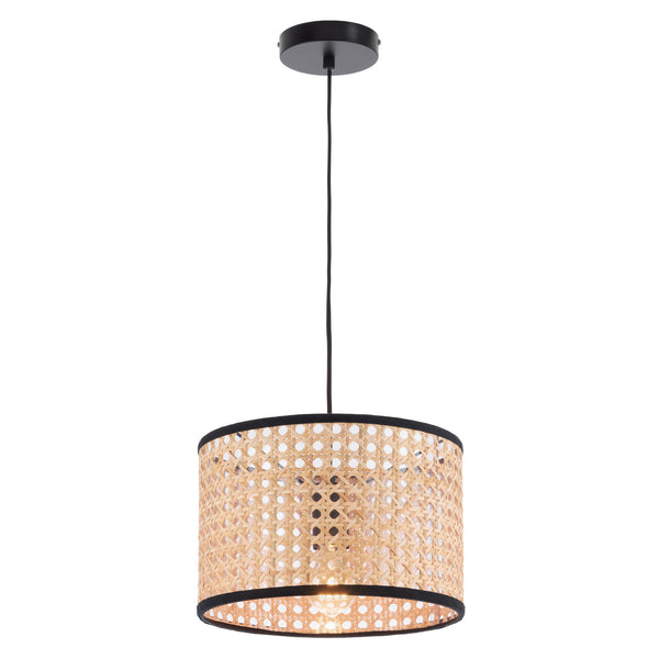 Tia Natural Rattan with Black Fabric Small Pendant