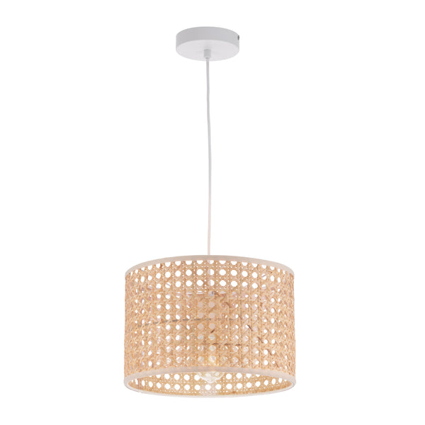 Tia Natural Rattan with White Fabric Small Pendant