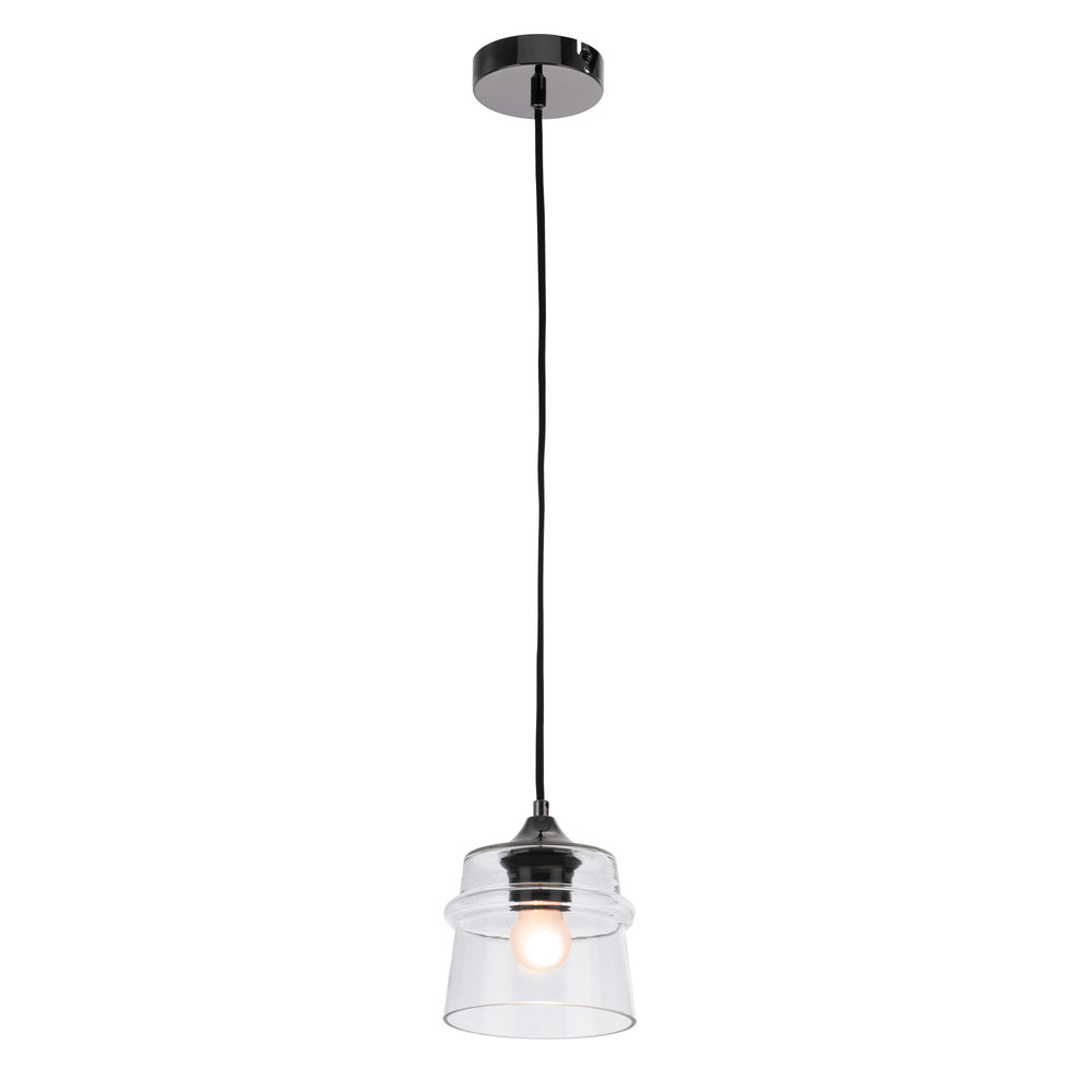 Dixie Clear Glass and Black Chrome Modern Pendant