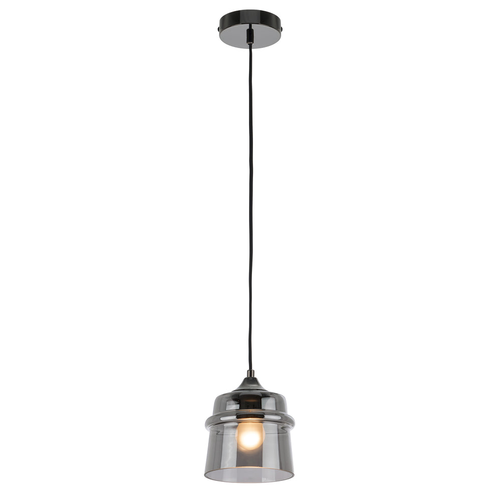 Dixie Smoke Glass and Black Chrome Modern Pendant