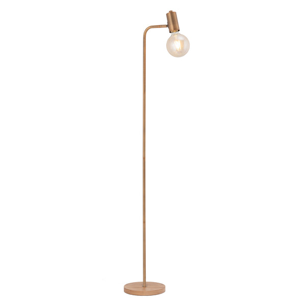 Wyatt Aged Brass with Natural Wood Floor Lamp