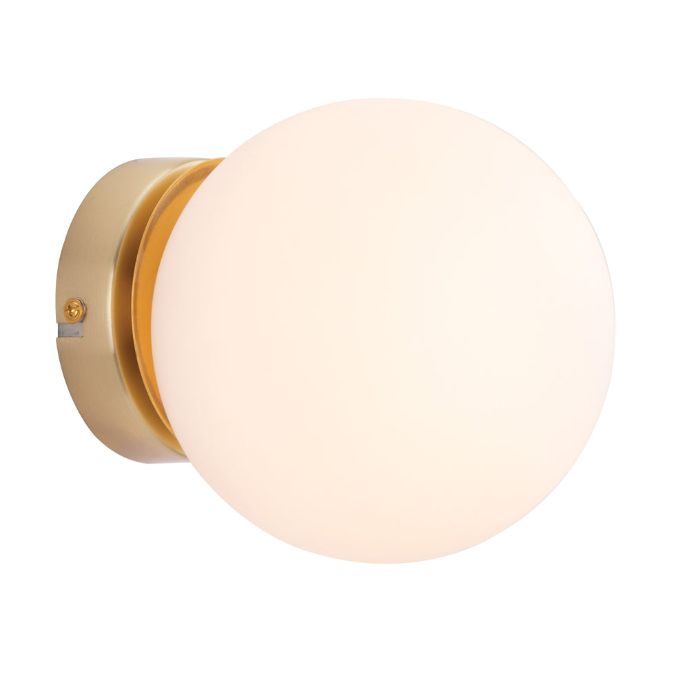 Lana Traditional Retro Brushed Brass and Opal Glass Wall Light