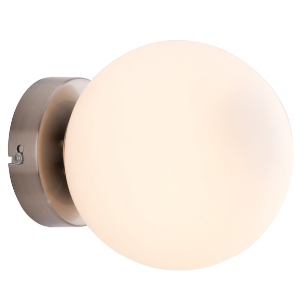 Lana Traditional Retro Satin Nickel and Opal Glass Wall Light