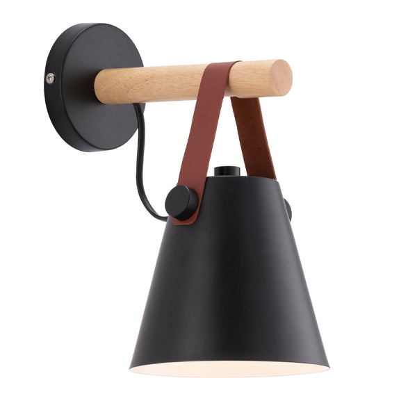 Beckett Black and Faux Leather Modern Wall Light