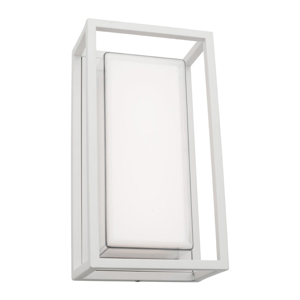 Cayman White Box and Frame LED Lantern Wall Exterior