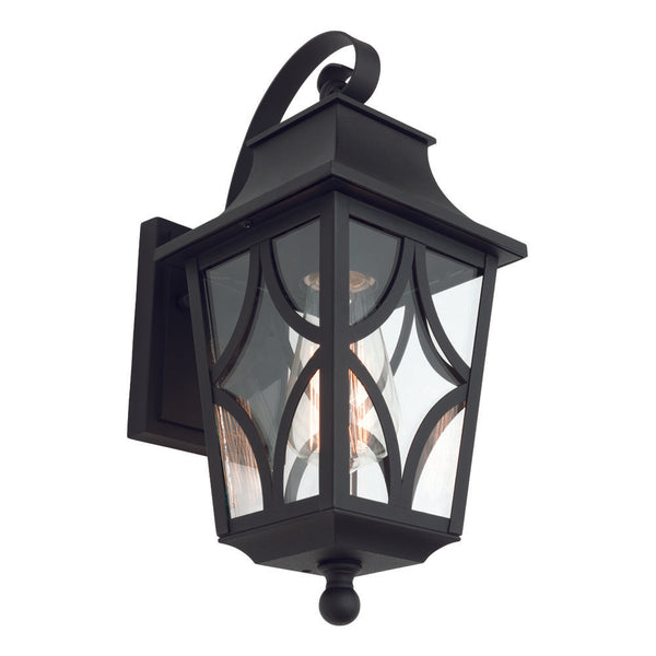 Maine Large Black and Star-cross Glass Panel Exterior Wall Light