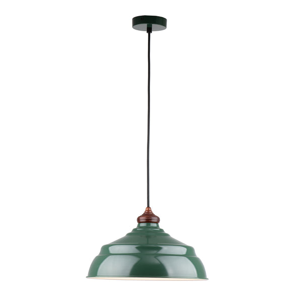 Marley Painted Metal with Wood Top Green Modern Pendant