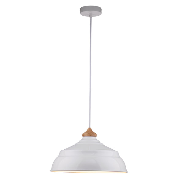 Marley Painted Metal with Wood Top White Modern Pendant