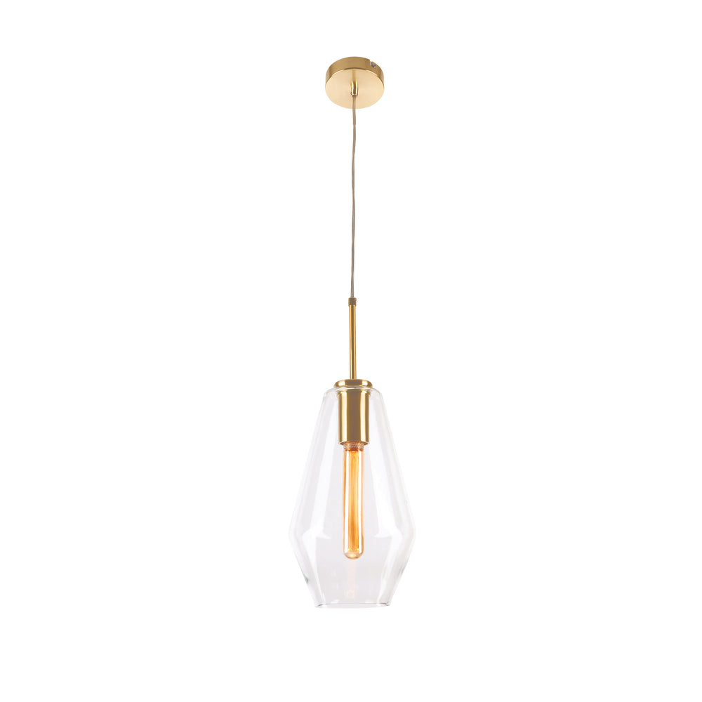 Melba Long Brushed Brass Pendant