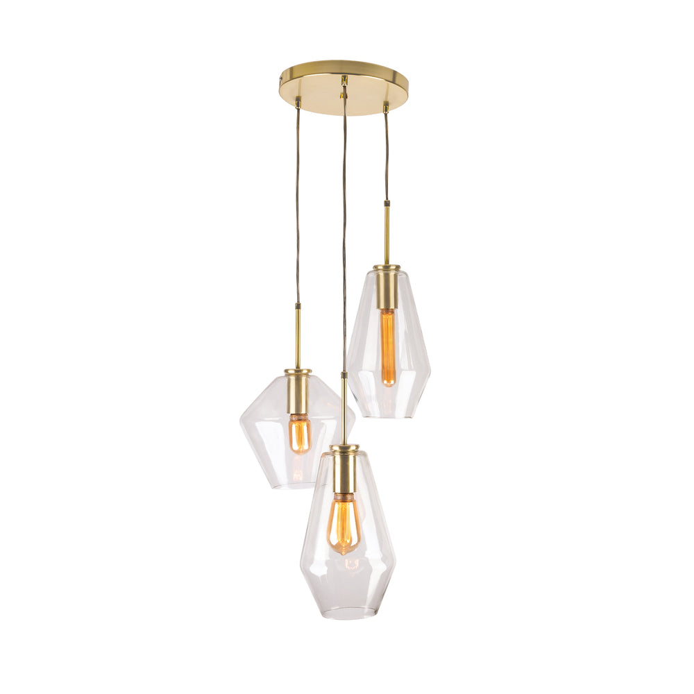 Melba 3 Light Cluster Brushed Brass Pendant