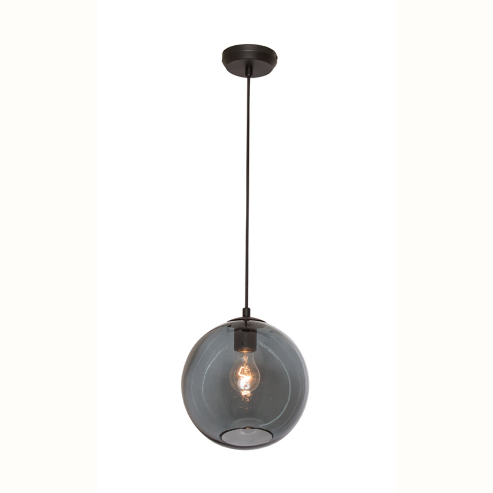 Milan Smoke Glass with Black 1 Light Pendant