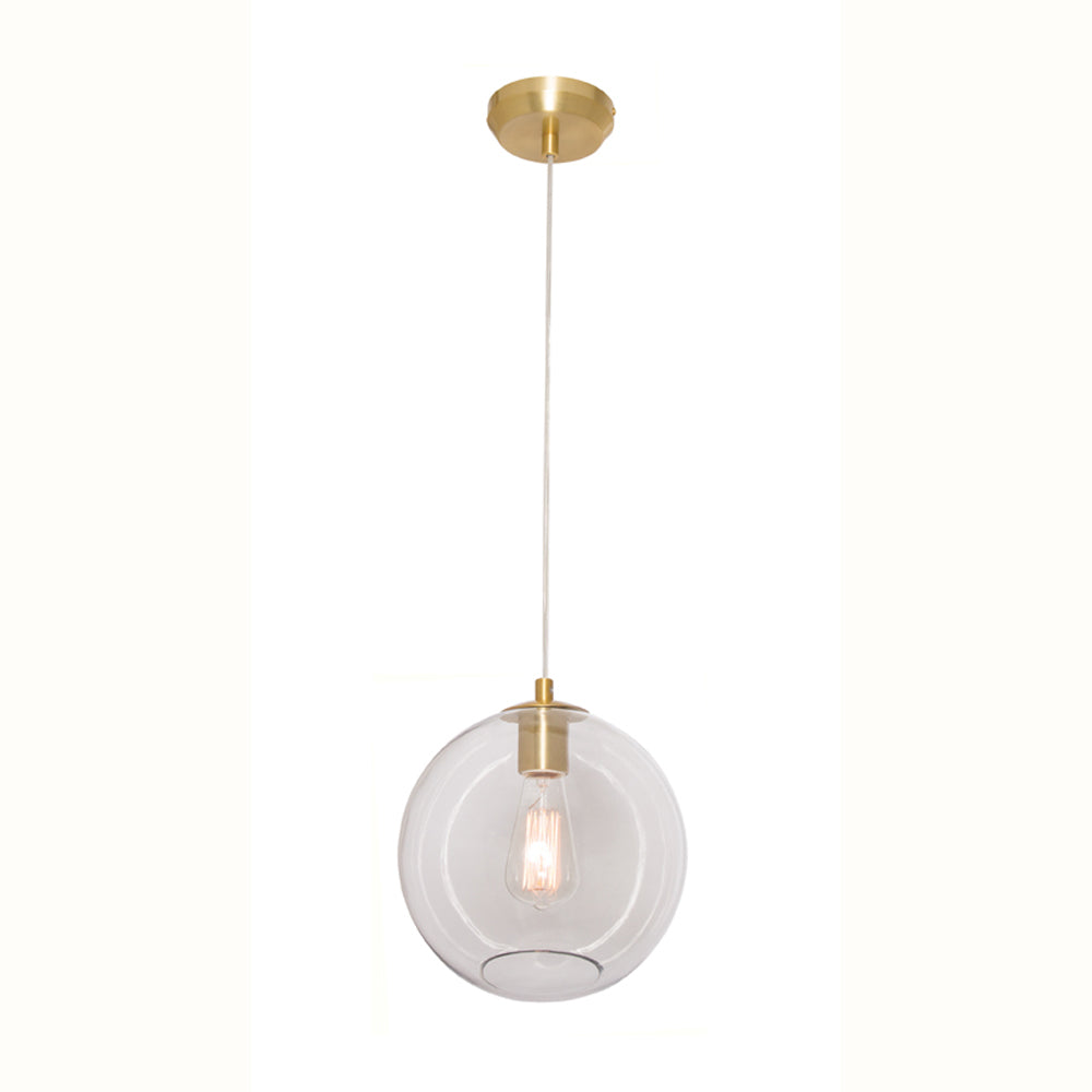 Milan Clear Glass with Brushed Brass 1 Light Pendant