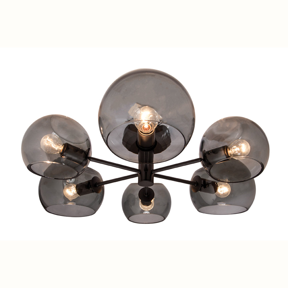 Milan Smoke Dimple Glass with Black 6 Light Close to Ceiling
