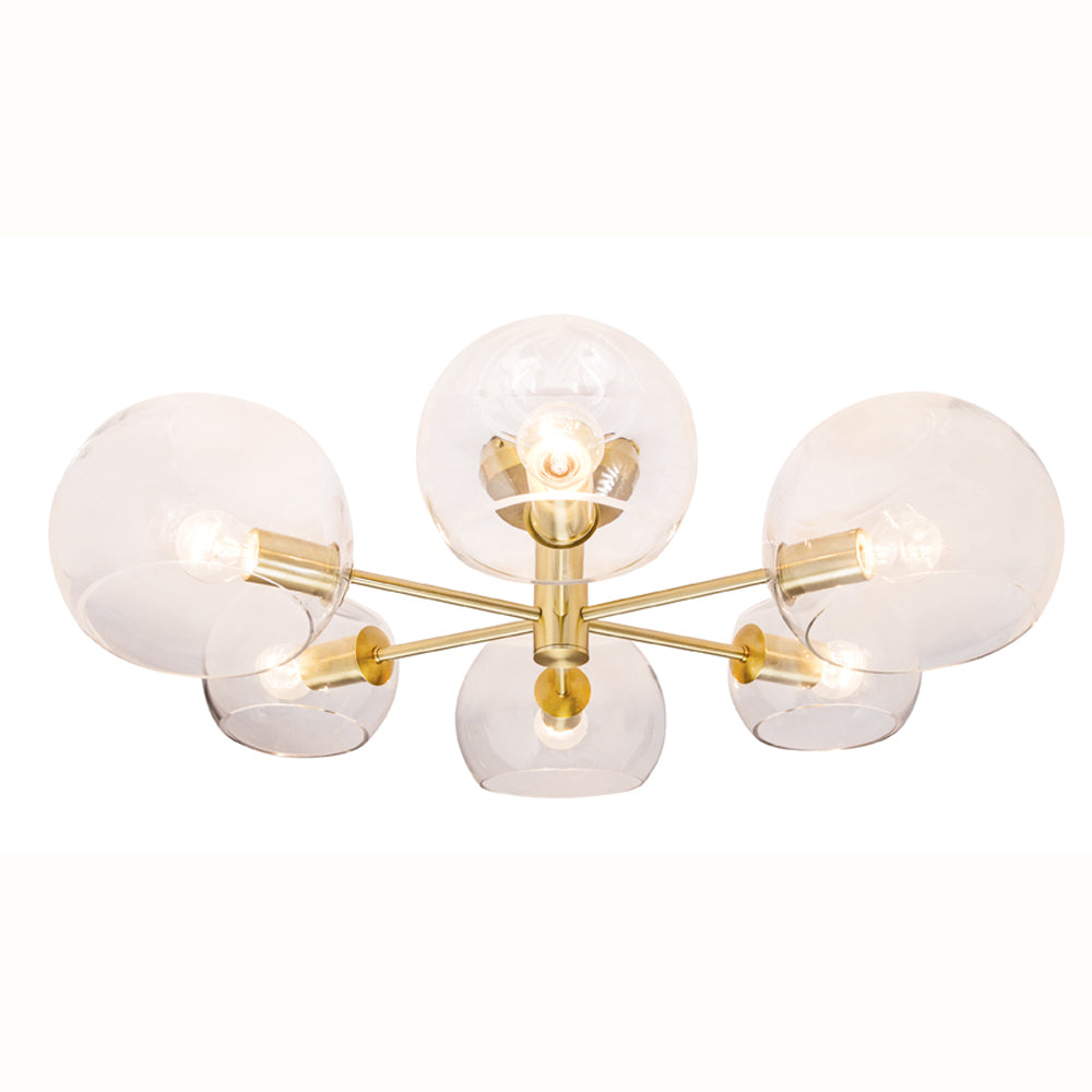Milan Clear Dimple Glass with Brushed Brass 6 Light Close to Ceiling